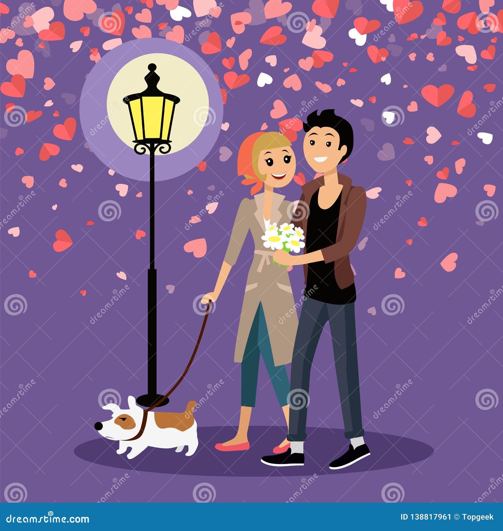 Valentine Couple Walking Outdoor com vetor do cão
