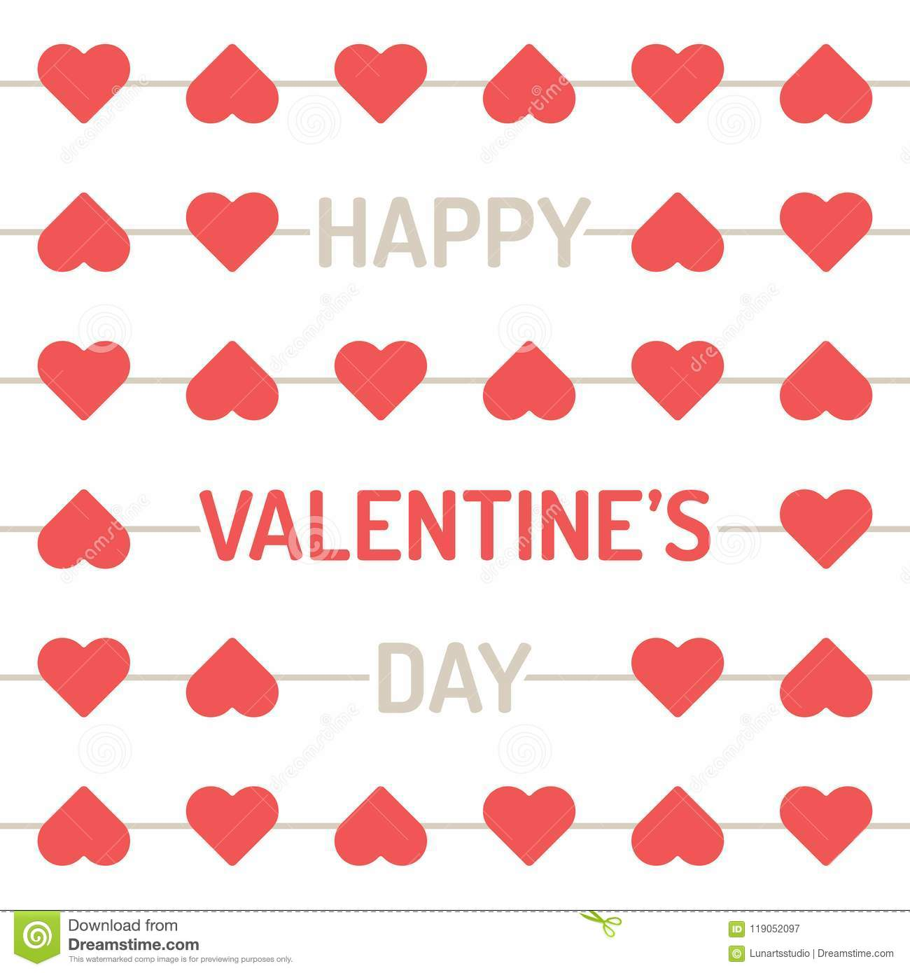 Valentine Day An Arrow Piecing A Hearts In Lines Background Stock