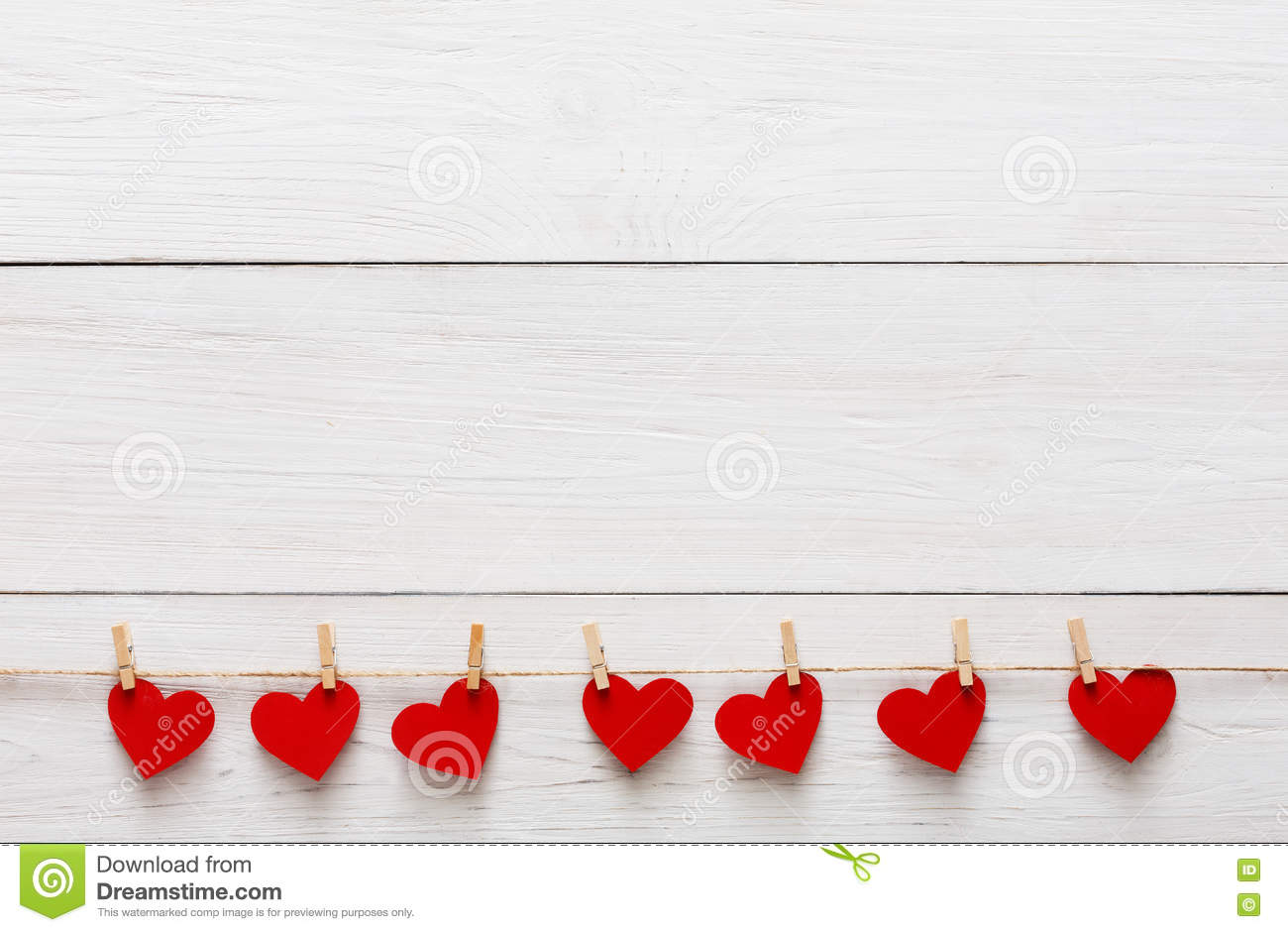 Valentine Background With Red Paper Hearts Row Border On Clothespins White Rustic Wood Planks Happy Lovers Day Card Mockup Copy Space