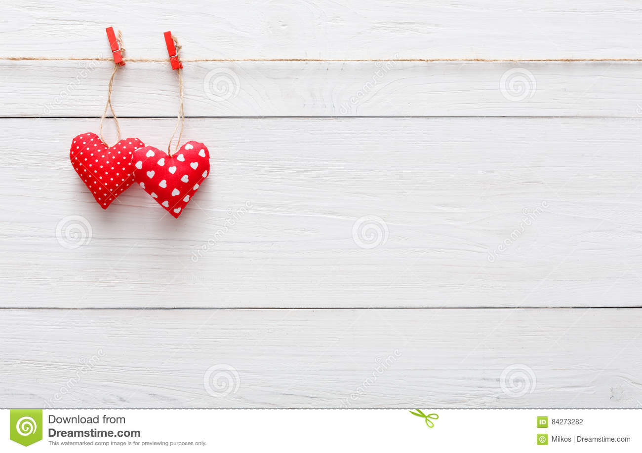 Valentine Background With Sewed Pillow Hearts Couple On Red Clothespins At Rustic White Wood Planks Happy Lovers Day Card Mockup Copy Space Wooden
