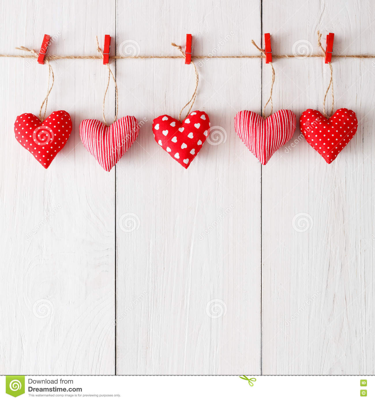 Valentine Day Background Pillow Hearts Border On Wood Copy Space