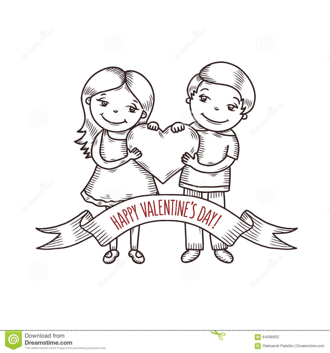 valentine day card with cartoon style boy and stock vector