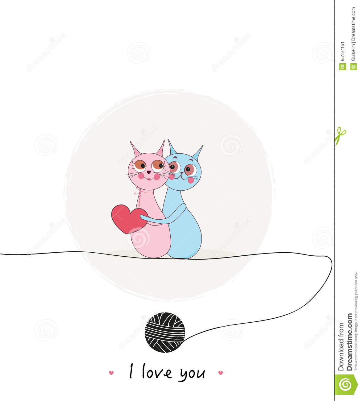 Valentine Day Cats Couple Vector Background Stock Vector