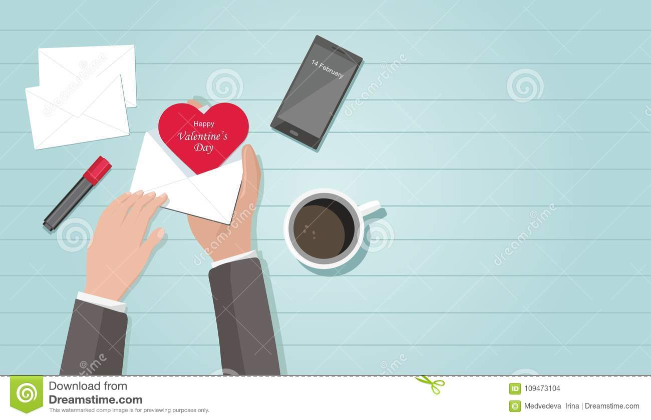 Valentine Day Composition Man Holding Envelope With Red Heart