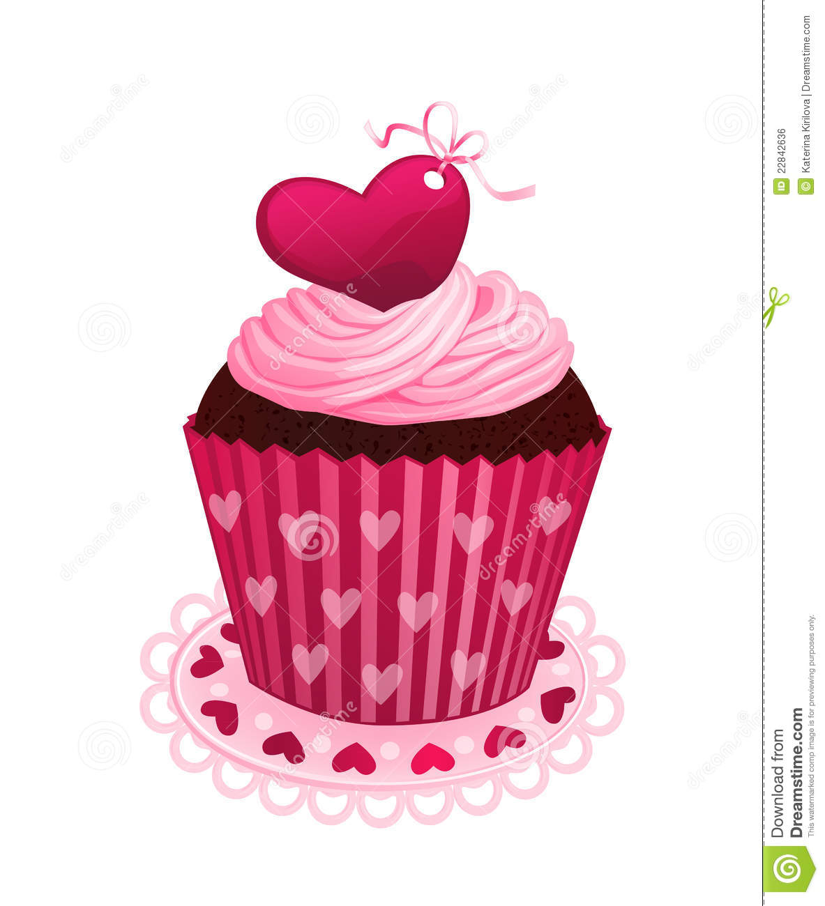 happy valentine's day chocolate cake - Valentine day cupcake stock vector Image of ribbon heart