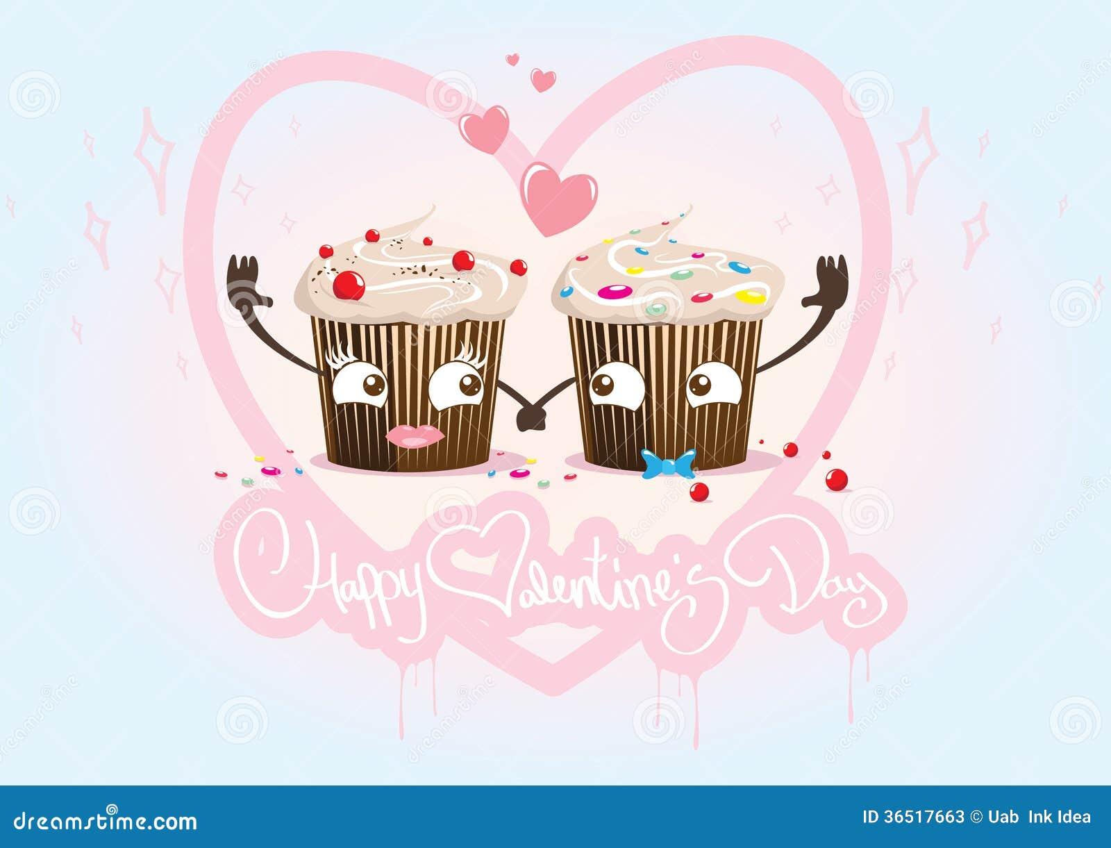 Valentine Day cupcakes inlove, paar
