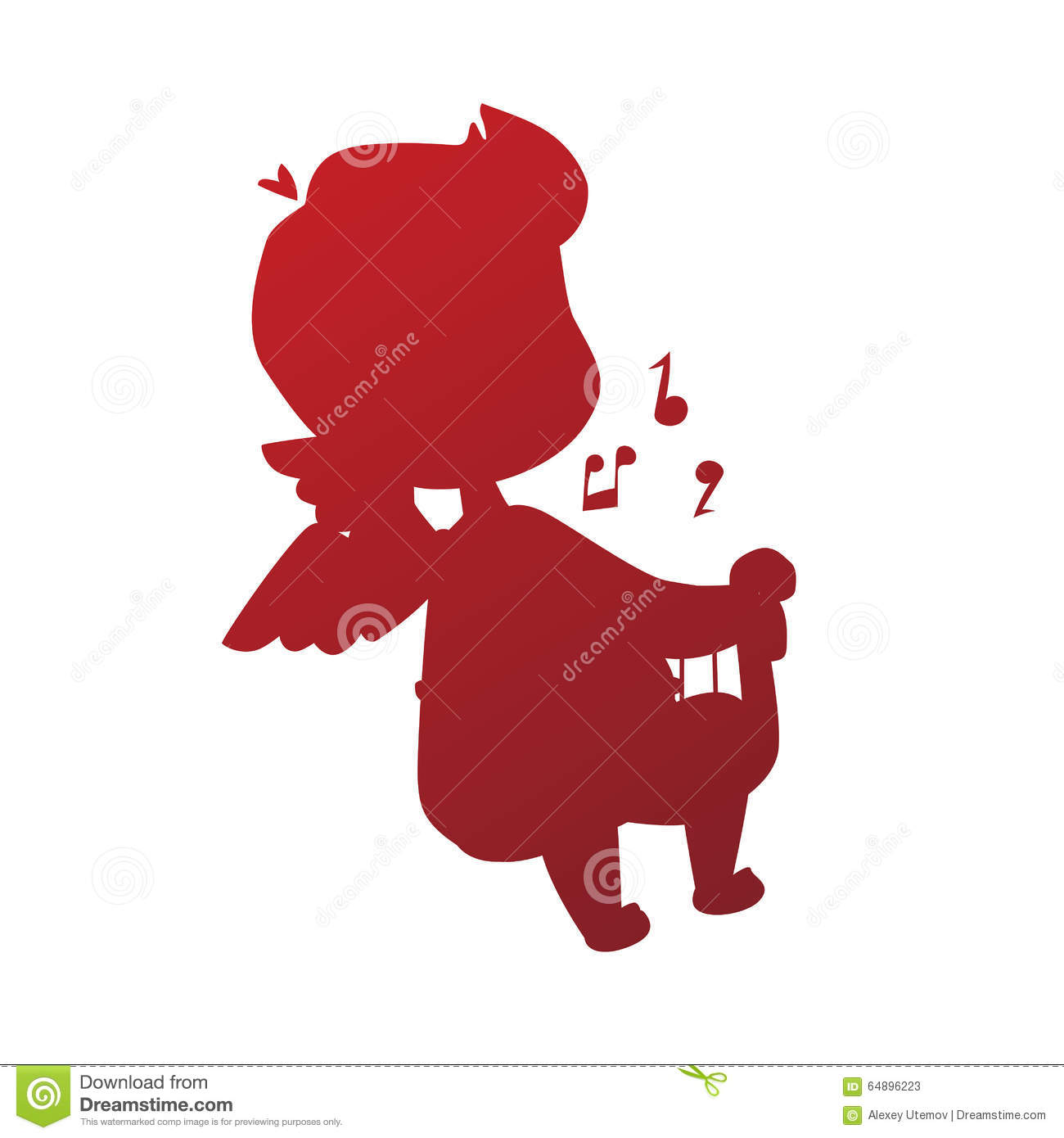 Valentine Day Cupid Angel Cartoon Style Vector Stock Vector