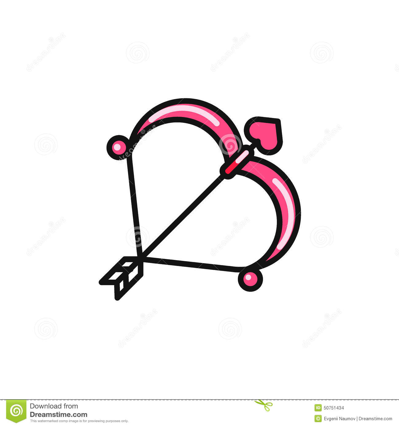Valentine Day Cupid Bow And Arrow Flat Icon Stock Vector