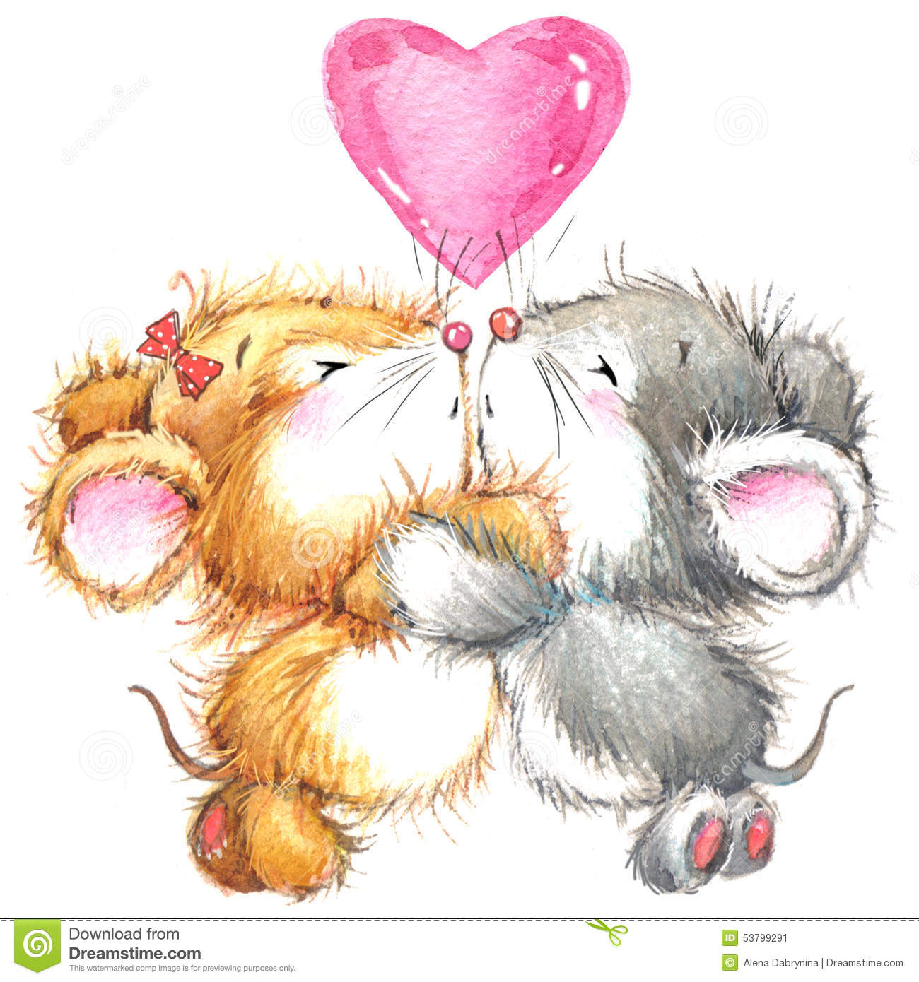 Valentine Day And Cute Animal. Stock Illustration ...