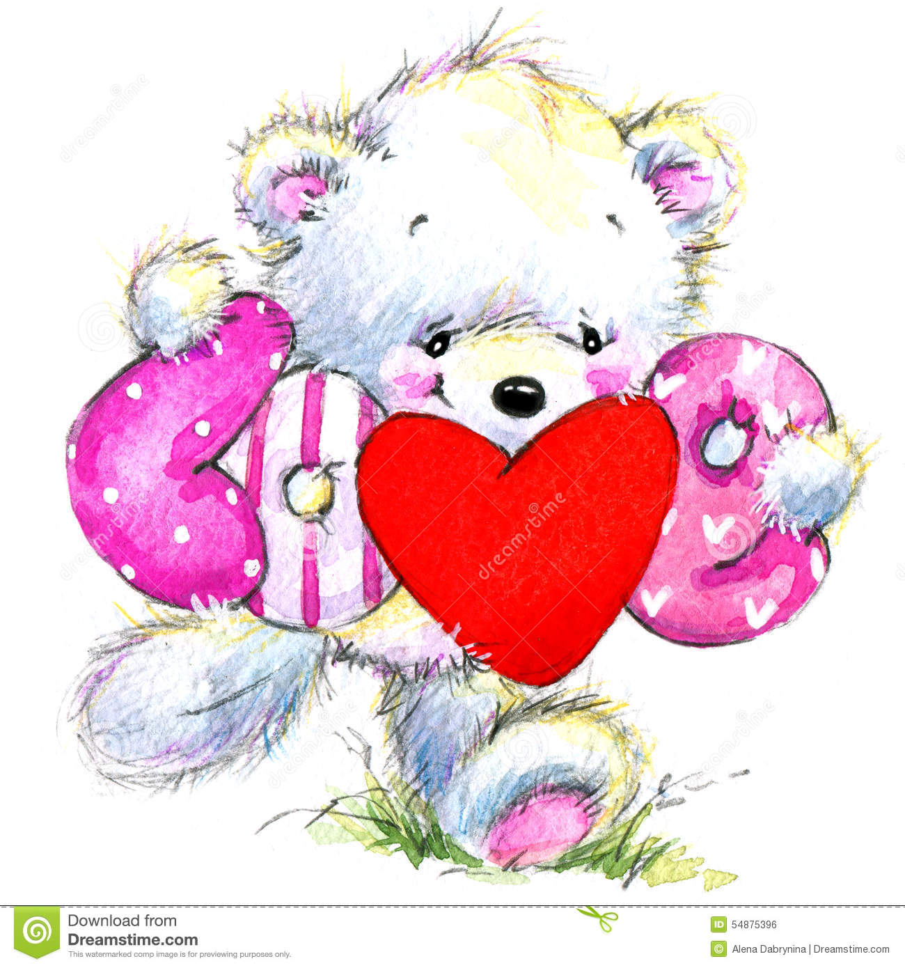 valentine day  cute white bear and red heart  stock
