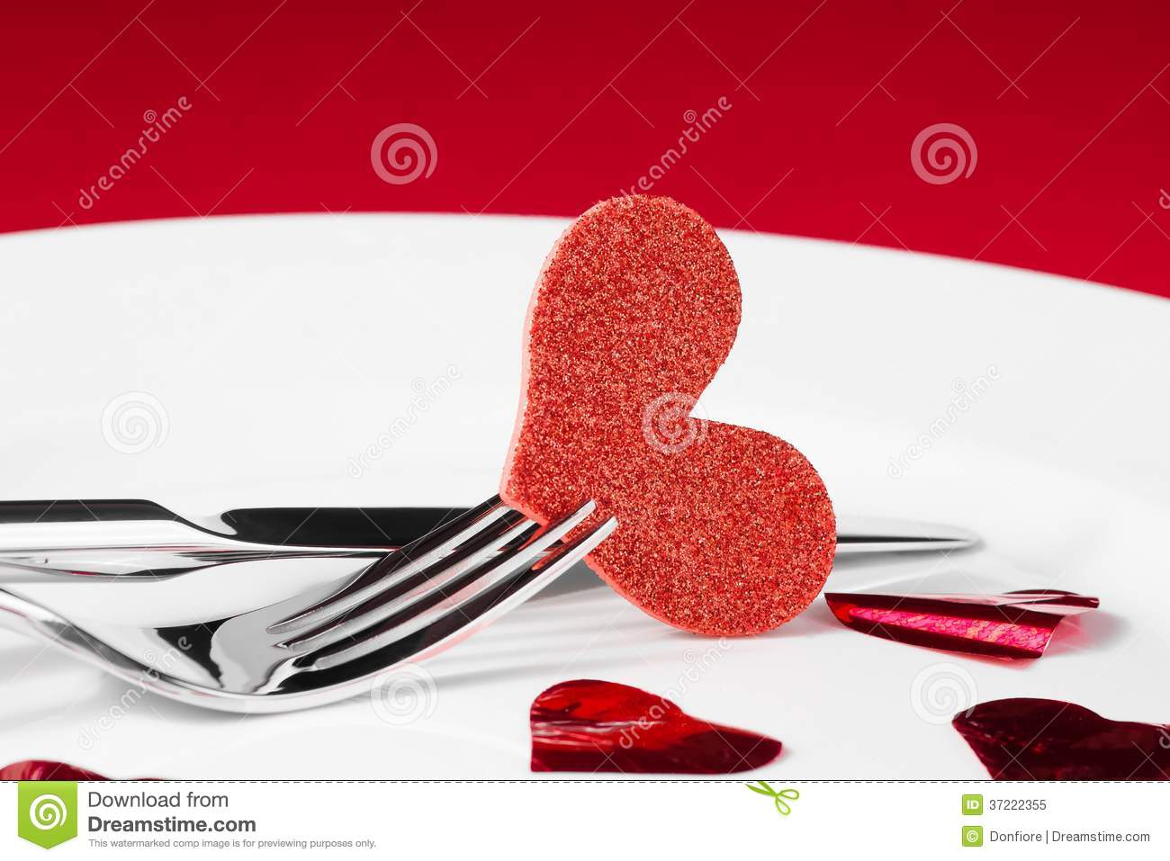 Valentine Day Dinner Series On Red Background Stock Image Image Of