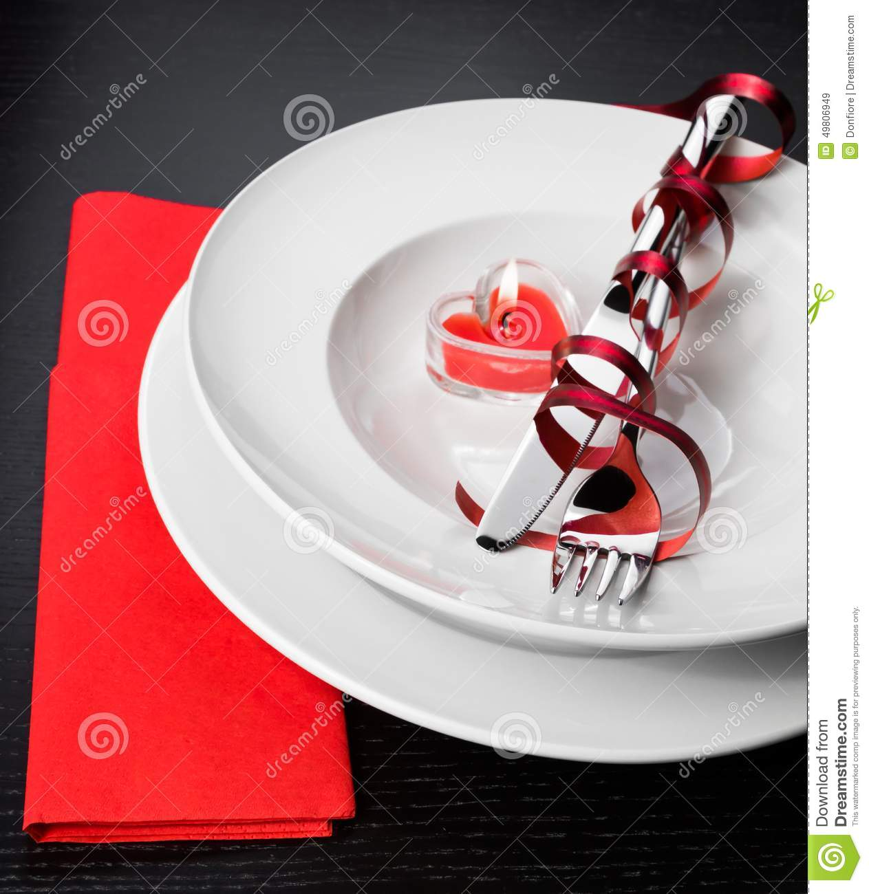 Valentine Day Dinner With Table Setting In Red And Elegant Heart ...