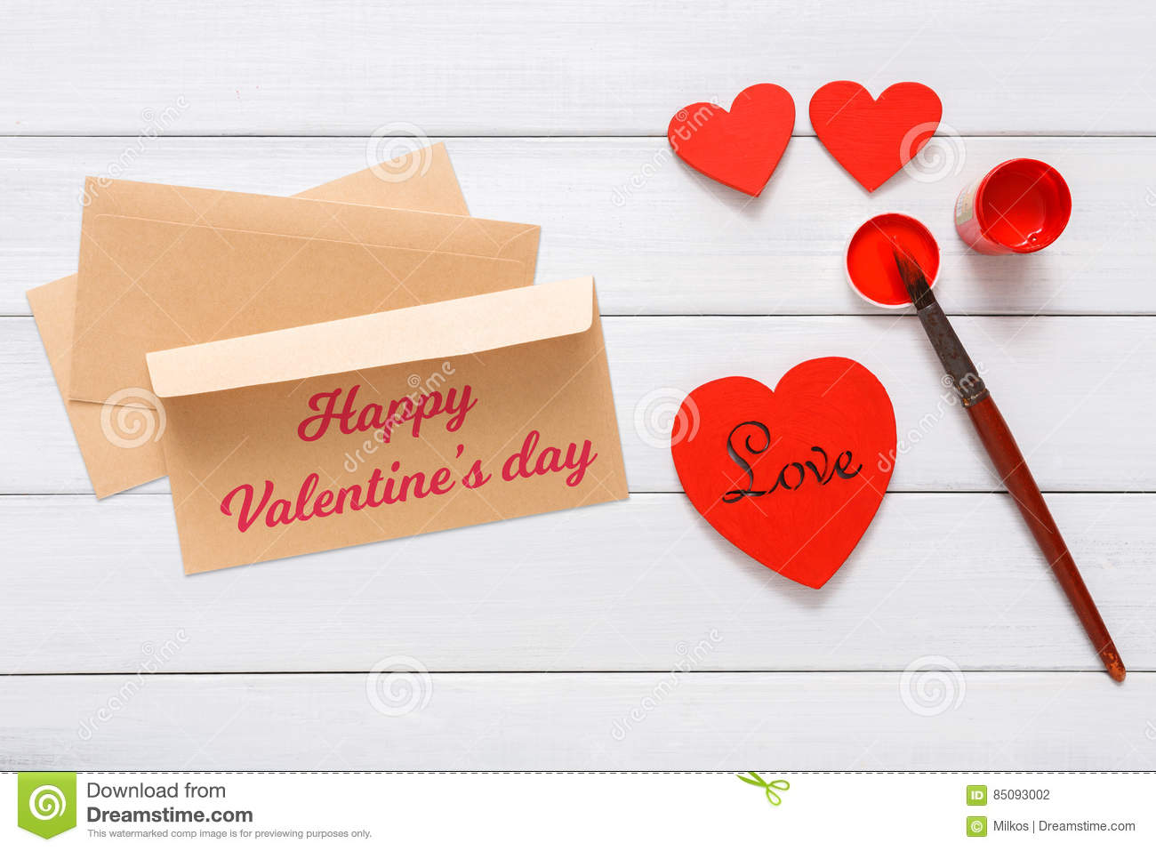 Valentine Day Diy Handmade Card Making Top View On Wood Stock Photo