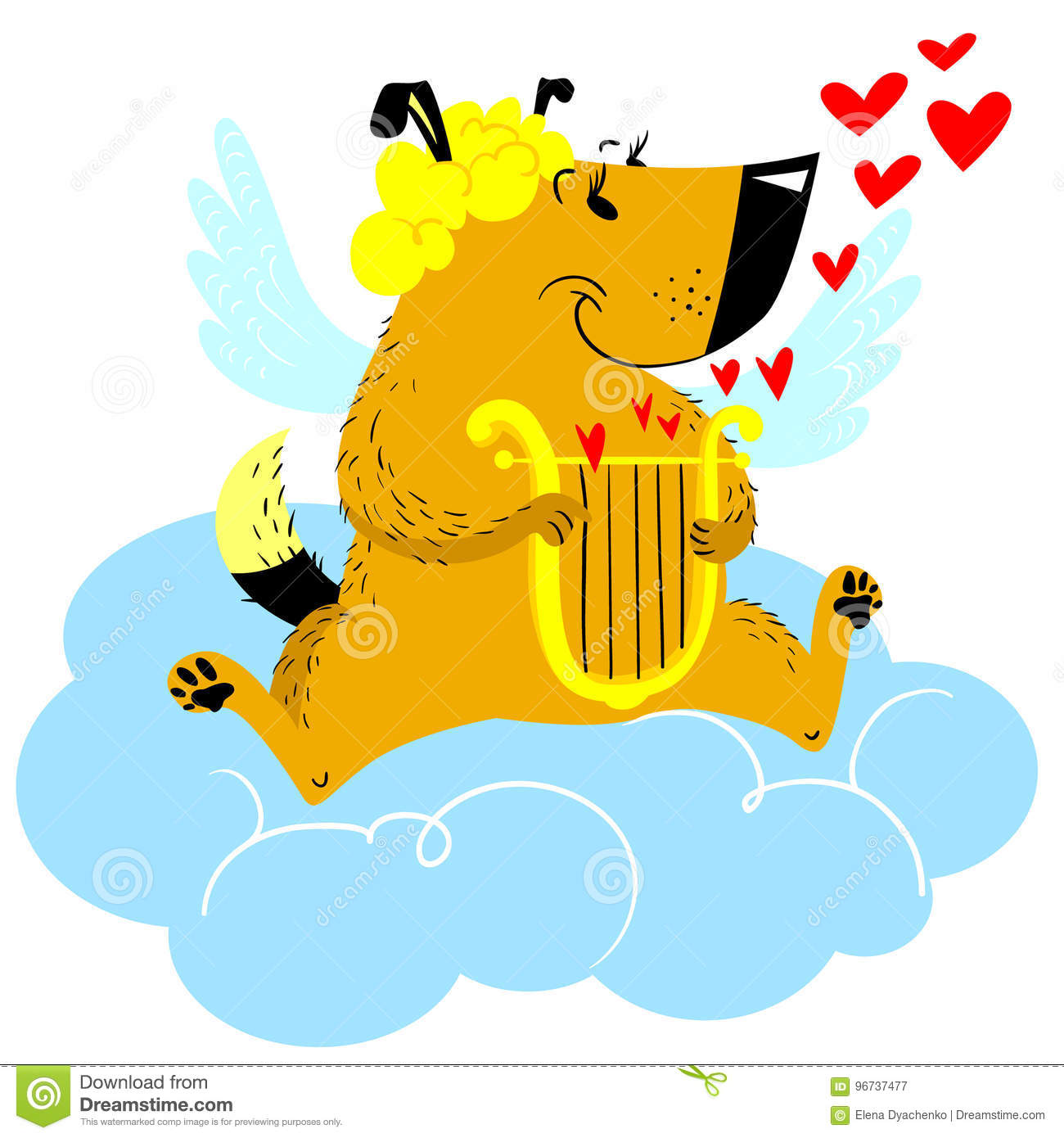 Valentine Day dog character. Dog in cupid or angel fancy costu