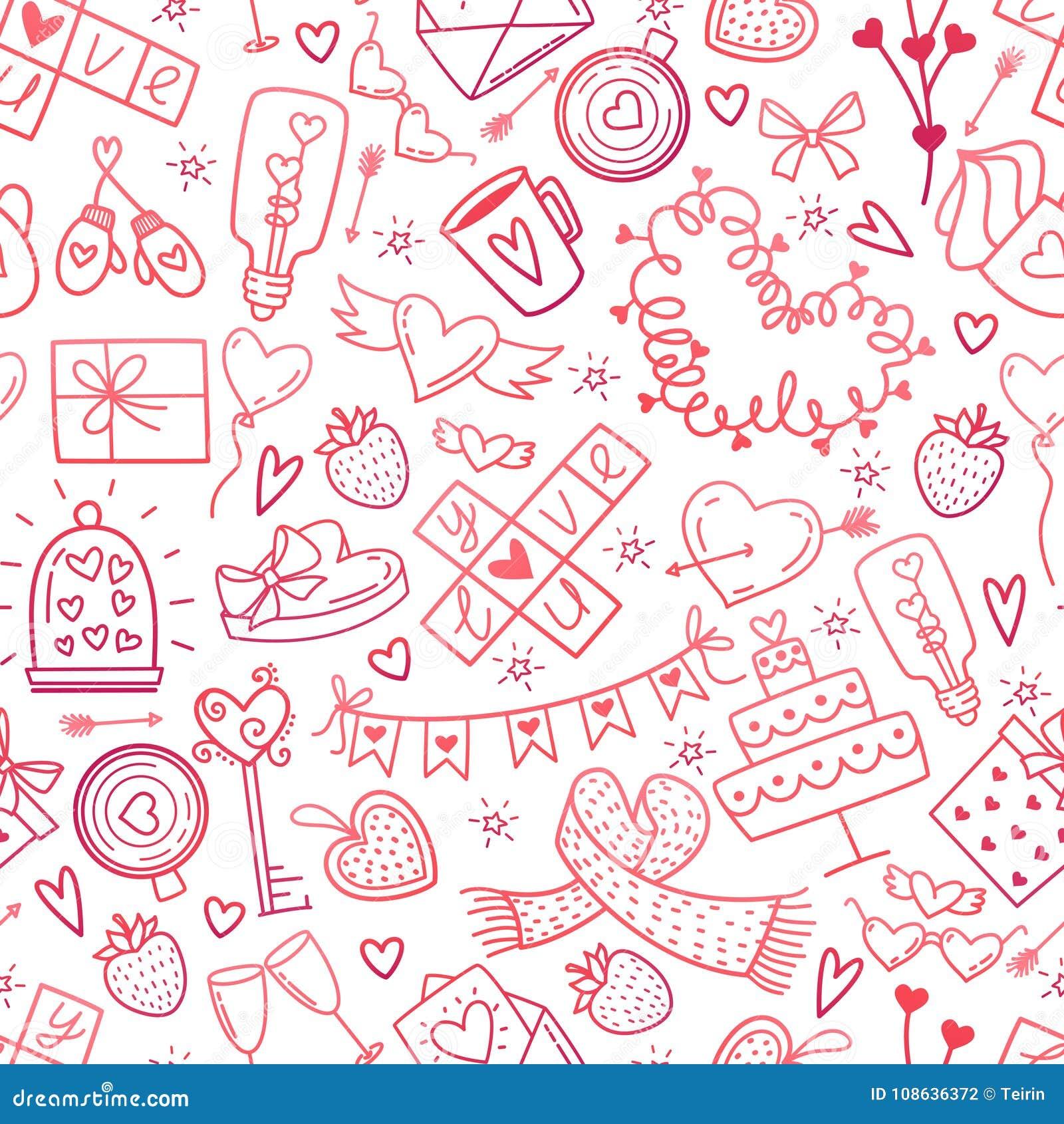 Valentine Day Doodles Elements Pattern Cute Symbols Of Lovewedding
