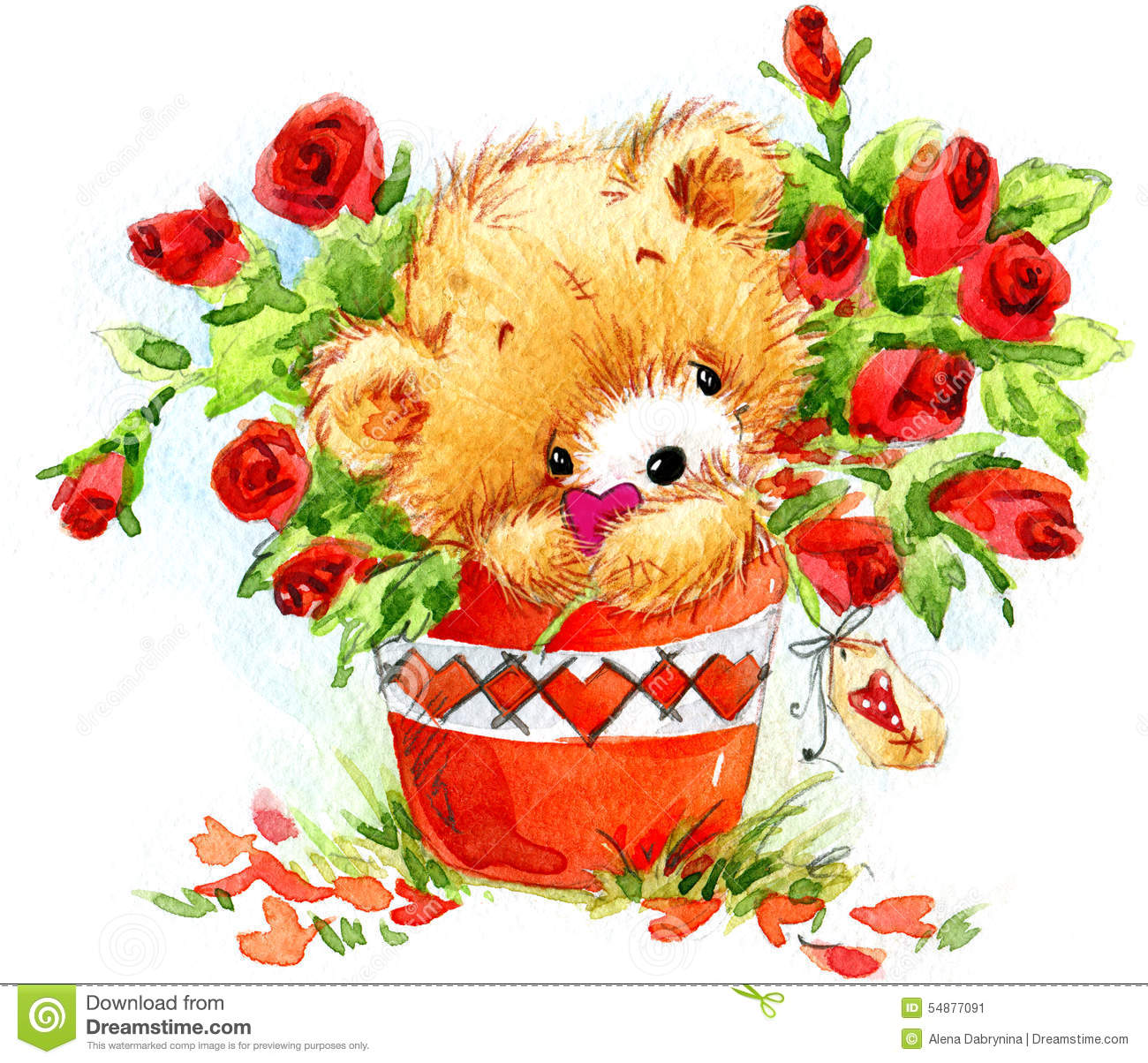 Catnip Toys For Valentine S Day : Valentine day funny teddy bear and red heart stock