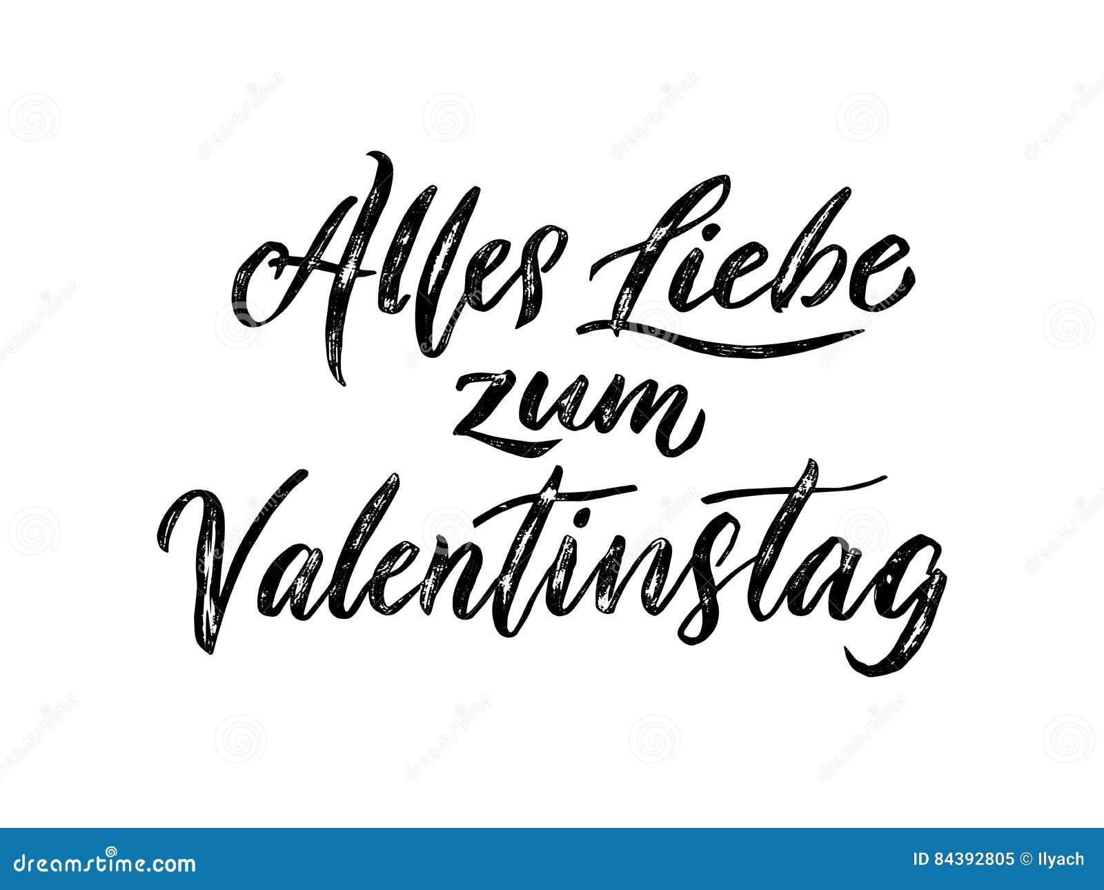 Valentine Day German Text Valentinstag Greeting Card Vector – German Valentines Day Cards