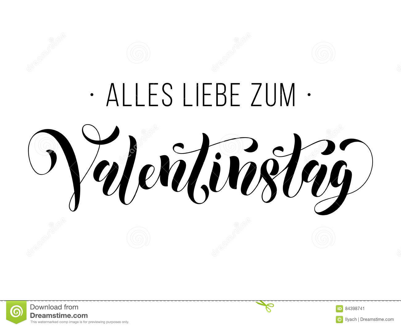 Valentine Day German Text Valentinstag Greeting Card Stock Vector