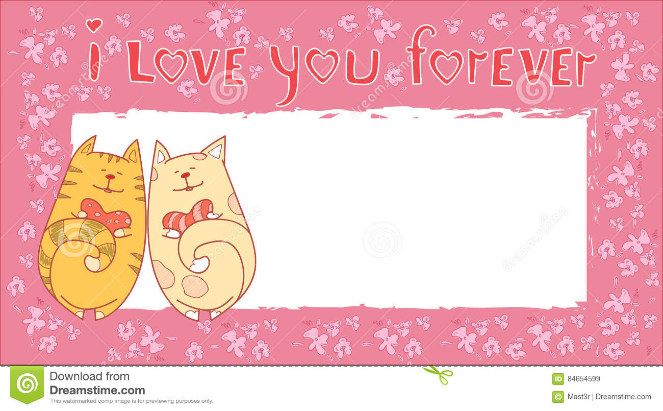 Valentine Day Gift Card Holiday Liebes Paare Cat Banner With Copy