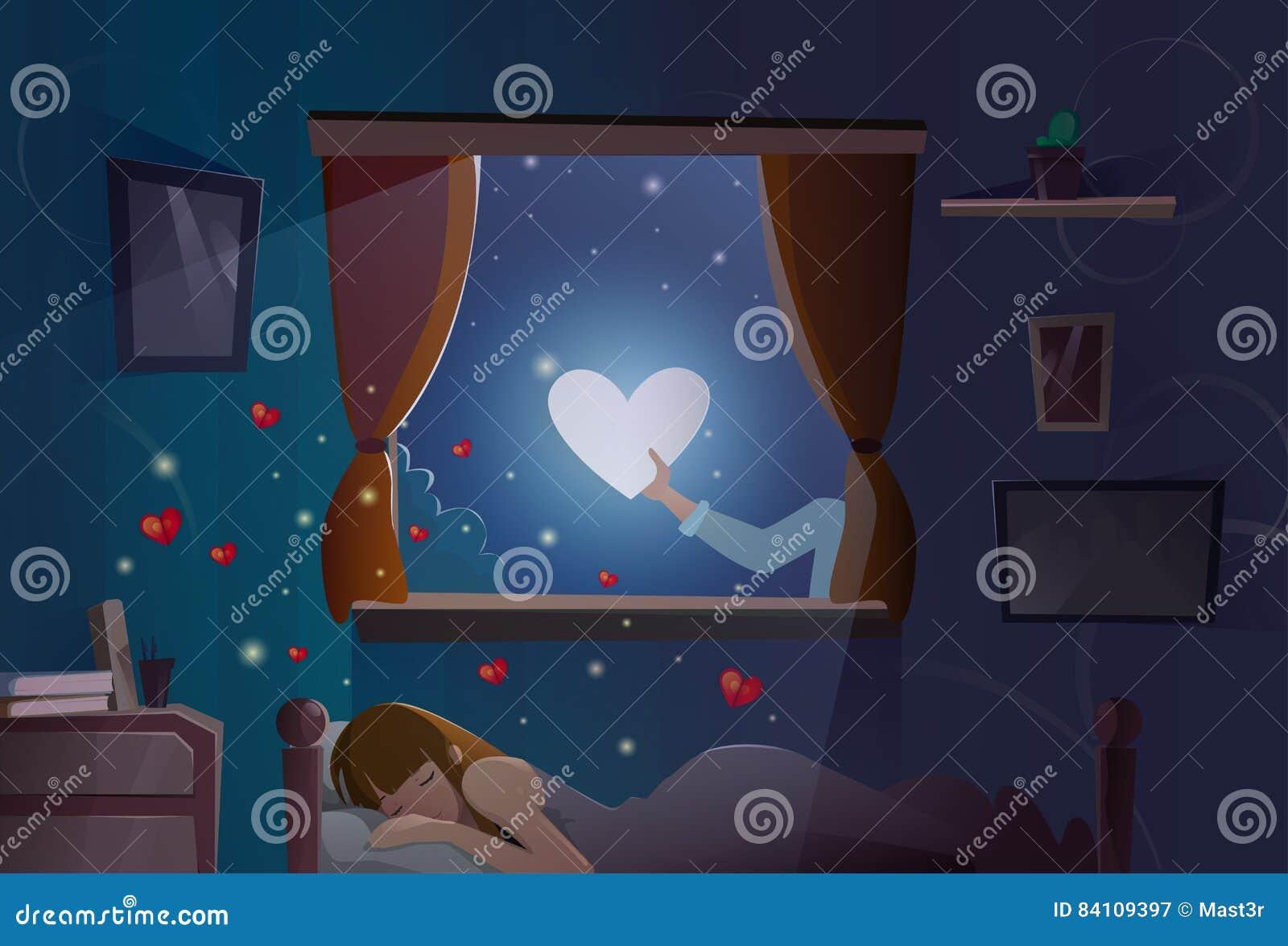 Valentine Day Gift Card Holiday-van het de Maanhart van de Meisjesslaap het Symbool van de de Vormliefde