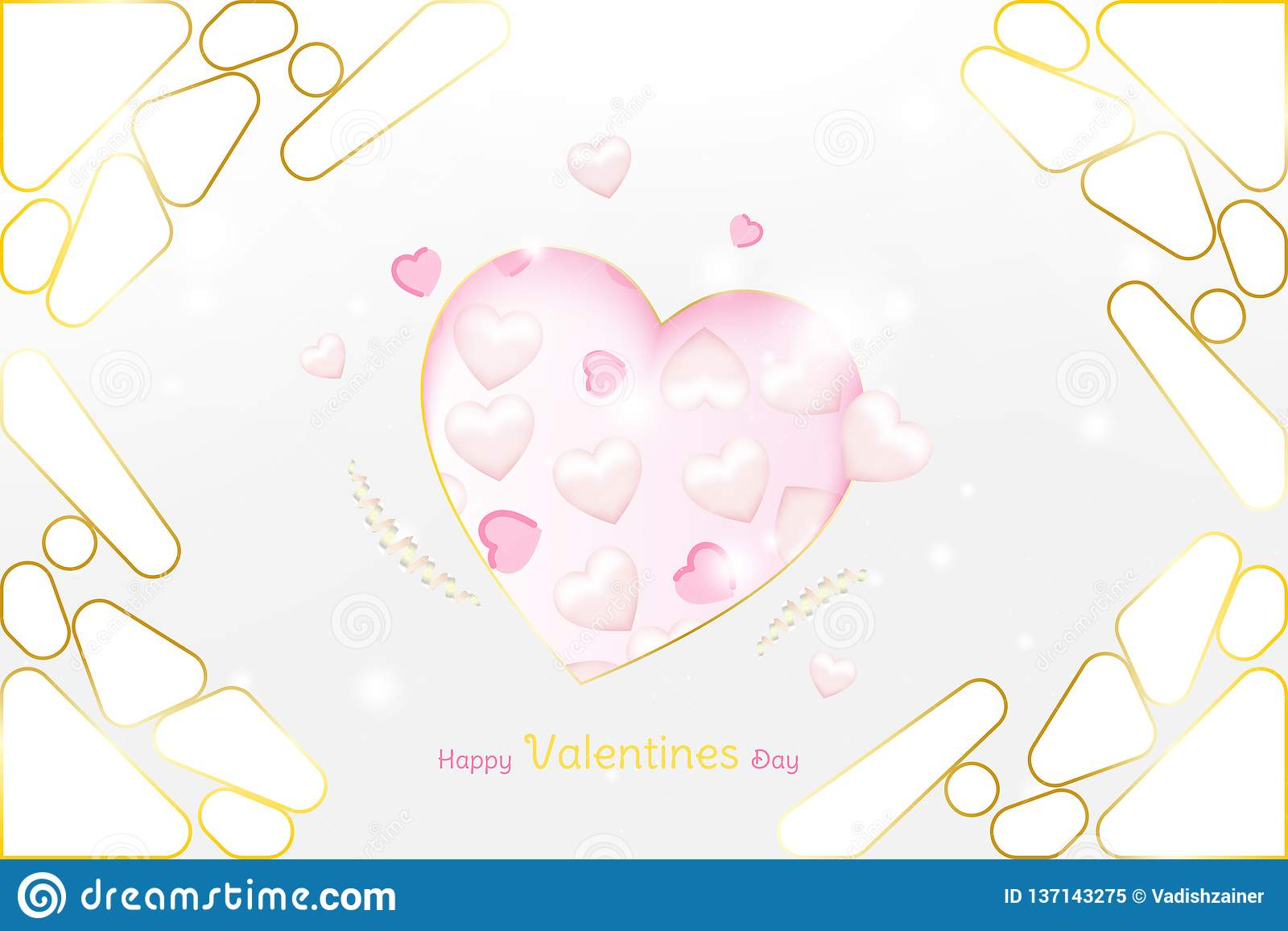 Valentine Day greeting card luxury template. Celebration concept with Pink hearts and gold elements on background with