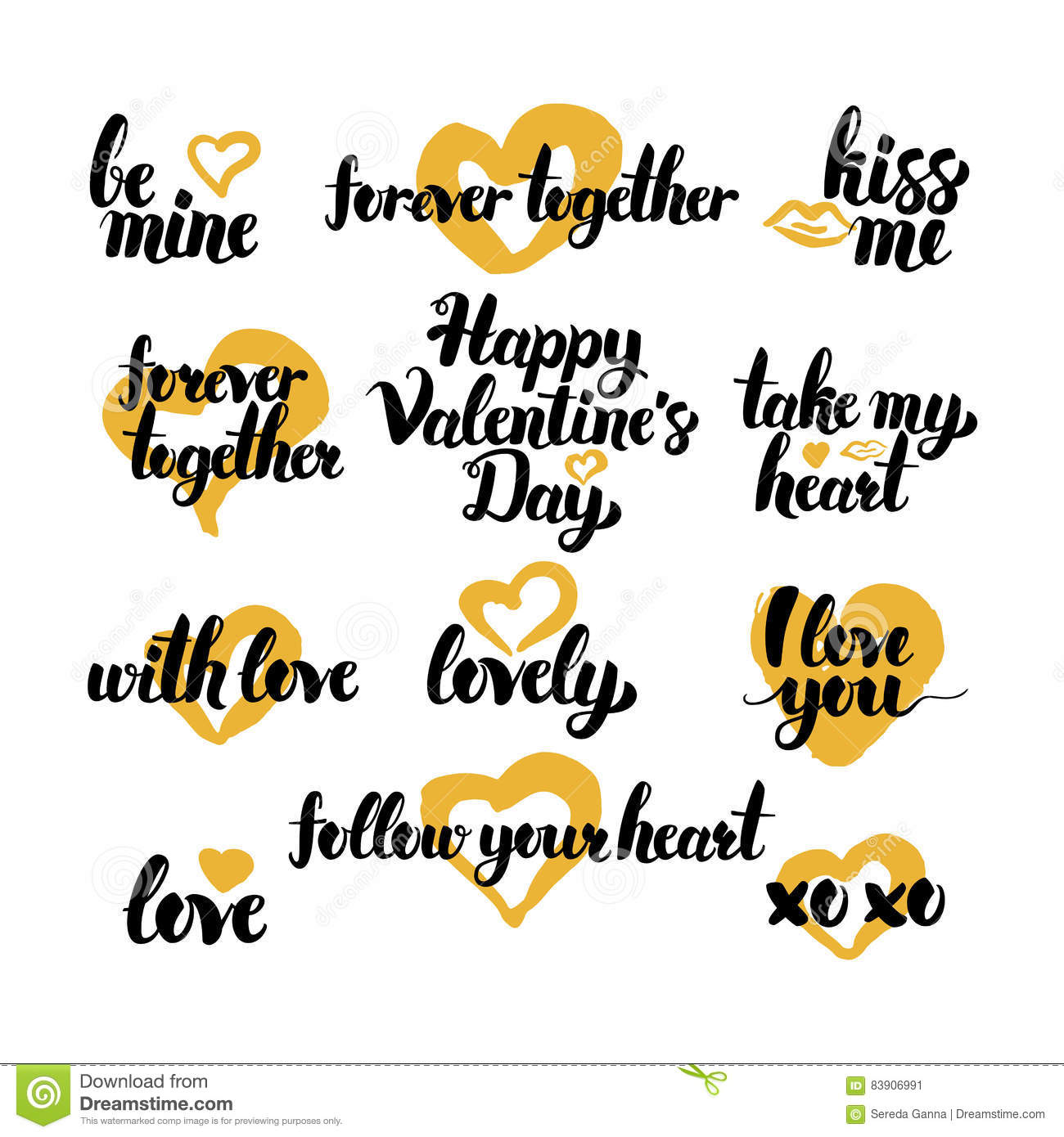 Valentine Day Hand Drawn Quotes Stock Vector Illustration