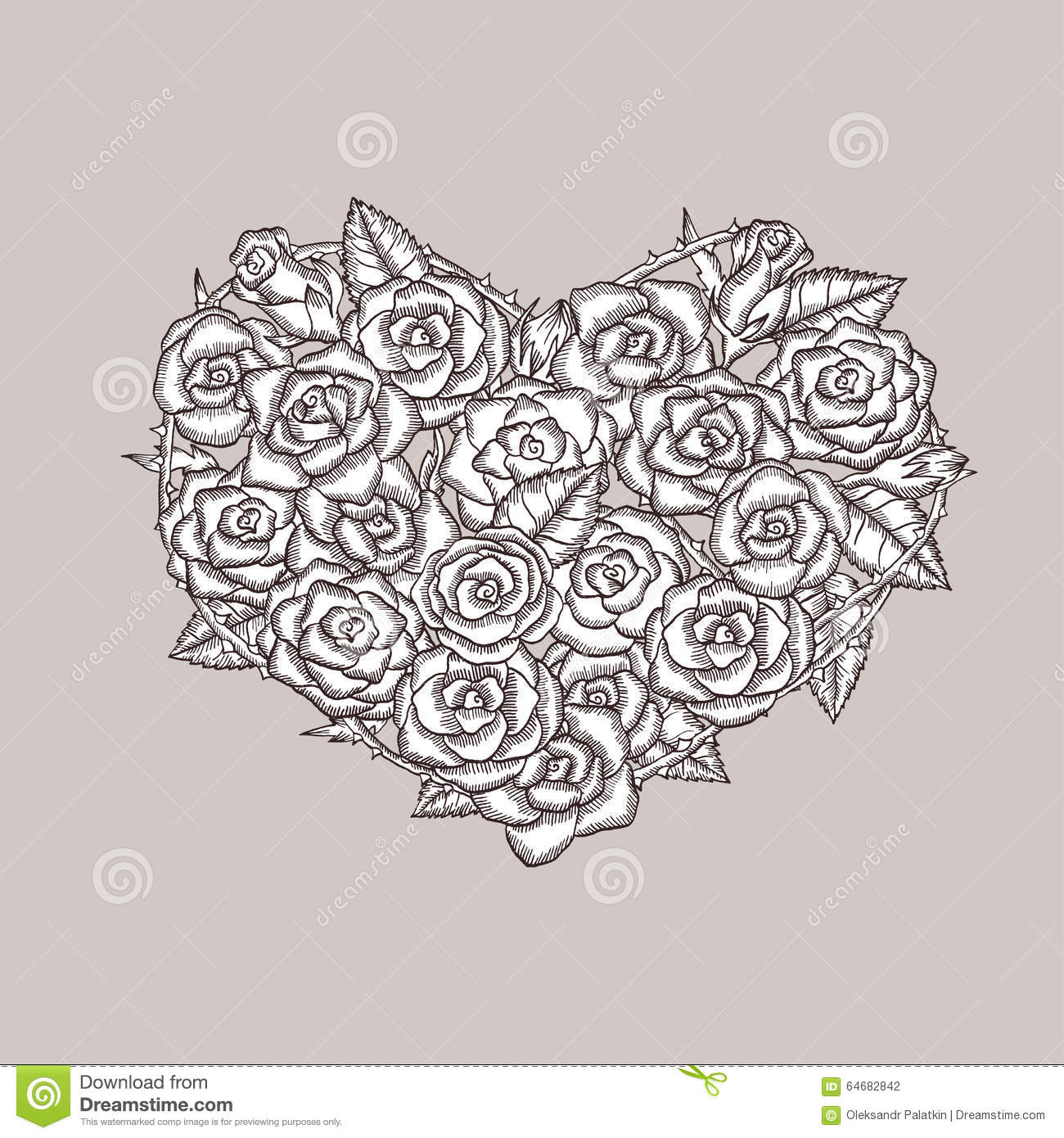 Valentine Day Heart Made Of Roses Ink Drawing Stock Vector