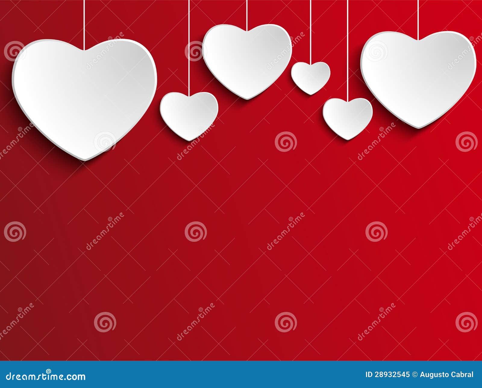 Valentine Day Heart no fundo vermelho