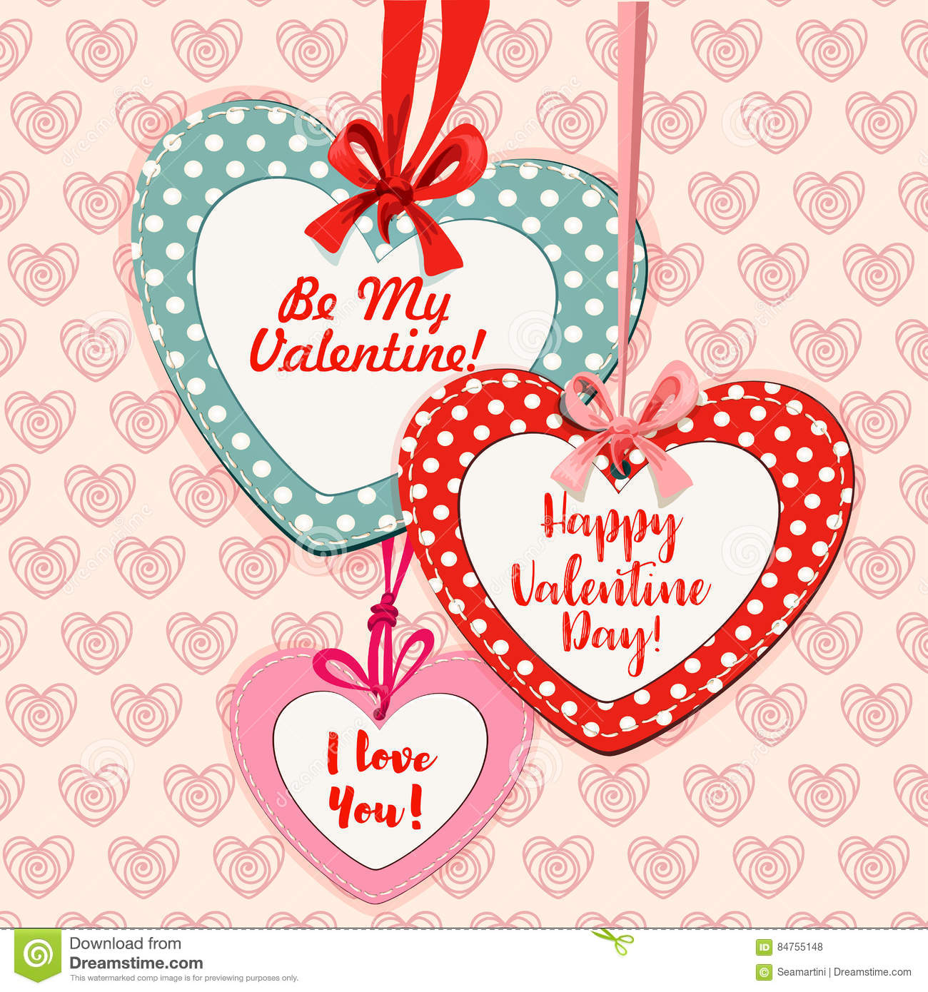 valentine day heart shaped greeting card design stock vector