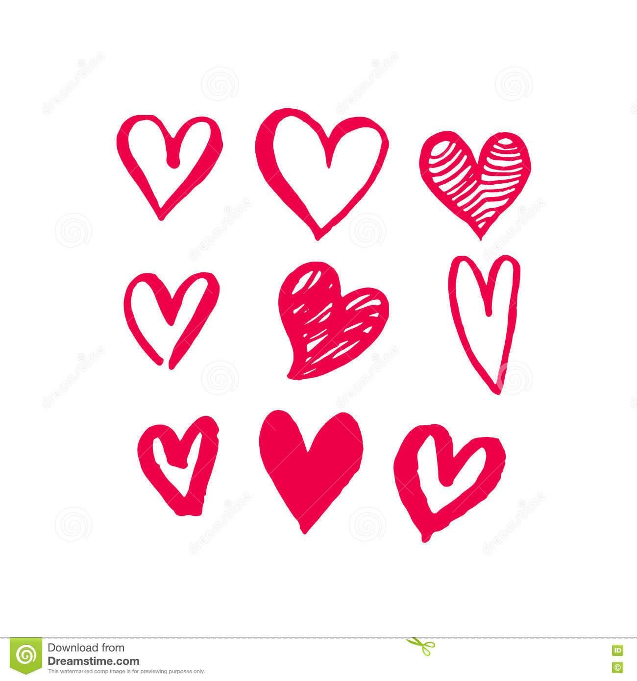 Valentine Day Hearts Sketch Icons Pattern Vector Art Stock Vector