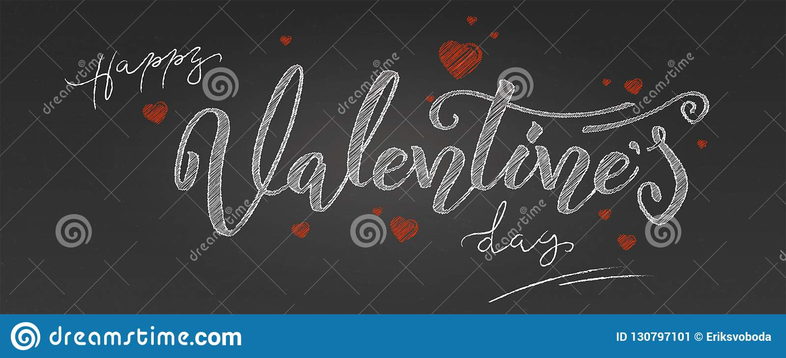 Valentine day. Holidays lettering, handwritten chalk inscription on school blackboard. Greetings with design of text in