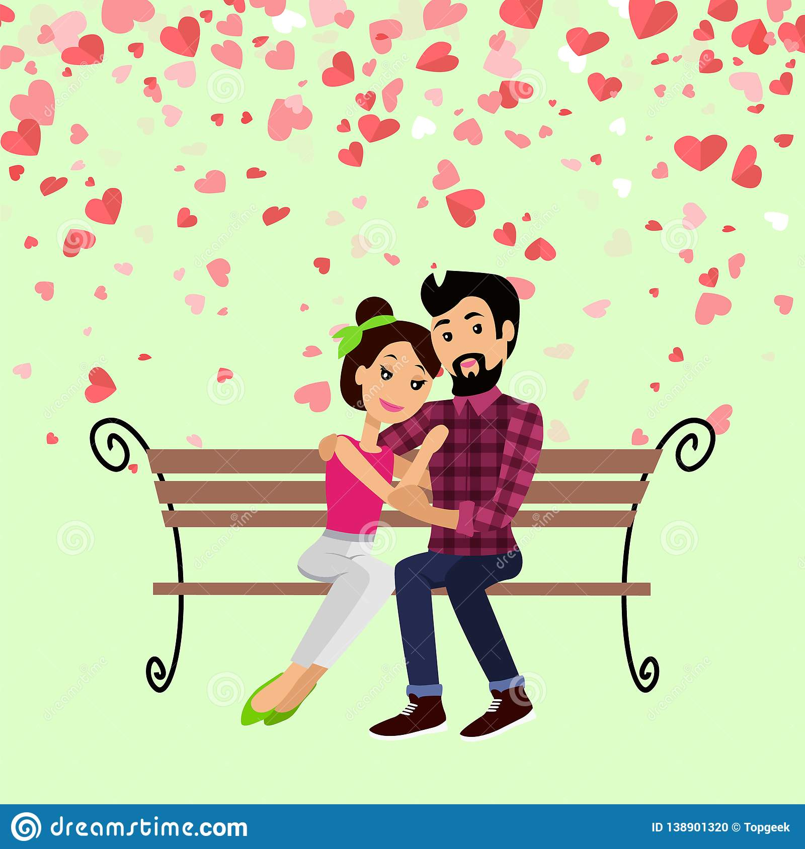 Valentine Day, Hugging Couple on Bench Vector