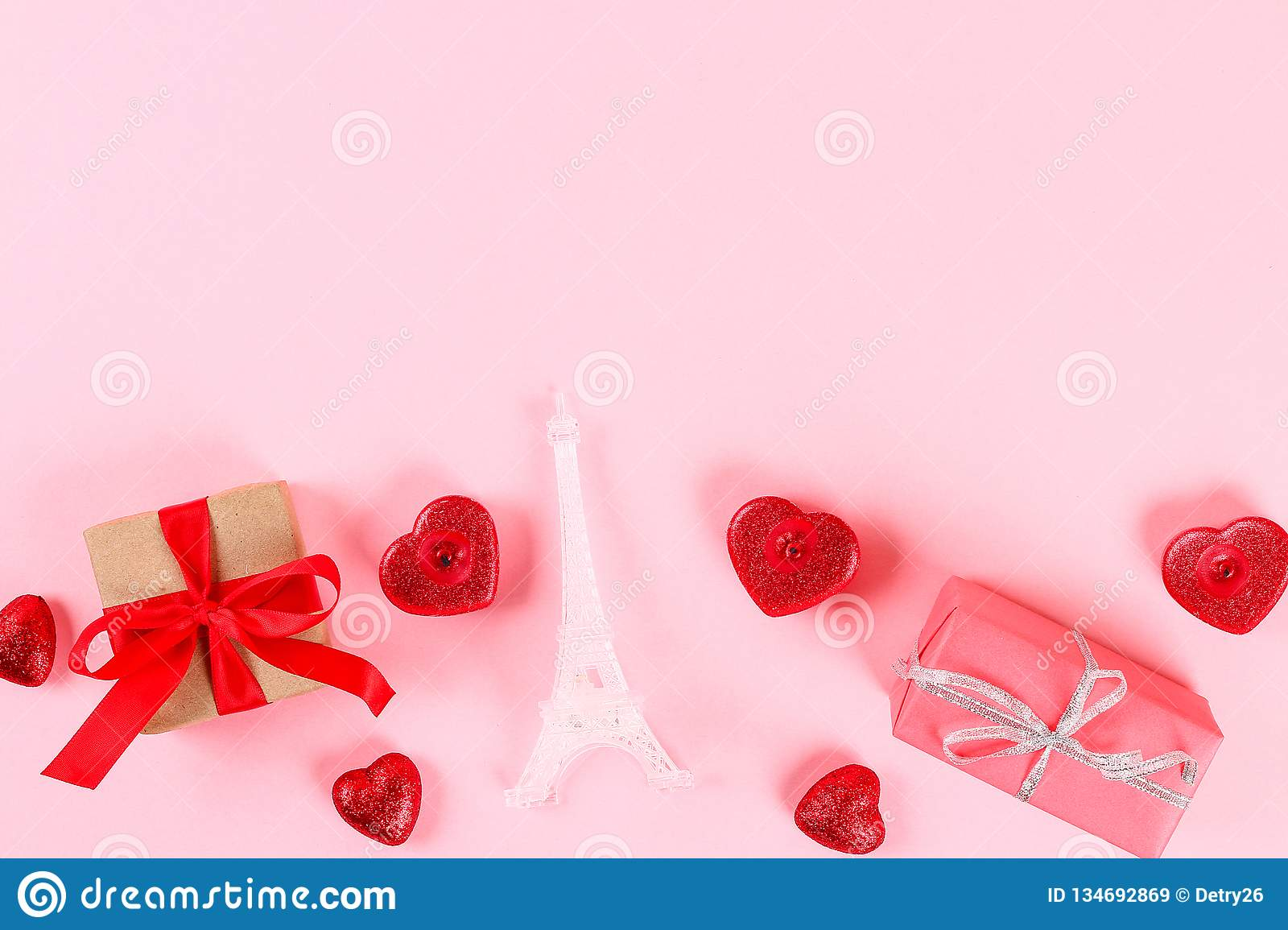 valentine day layout  gifts  hearts  eiffel tower on a