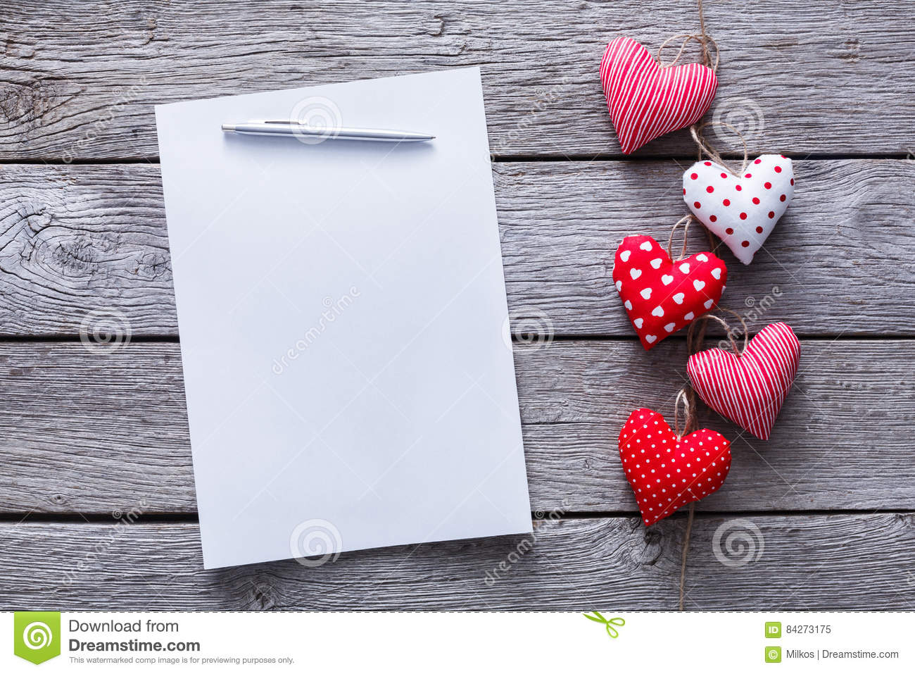 Valentine Day Letter Background Hearts Bunch On Wood Copy Space