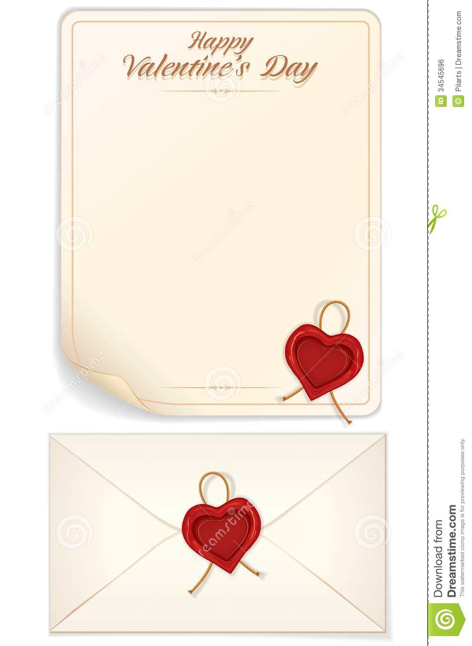 Valentine's Day, Love Letter Template with Heart Shaped Seal. Vector ...