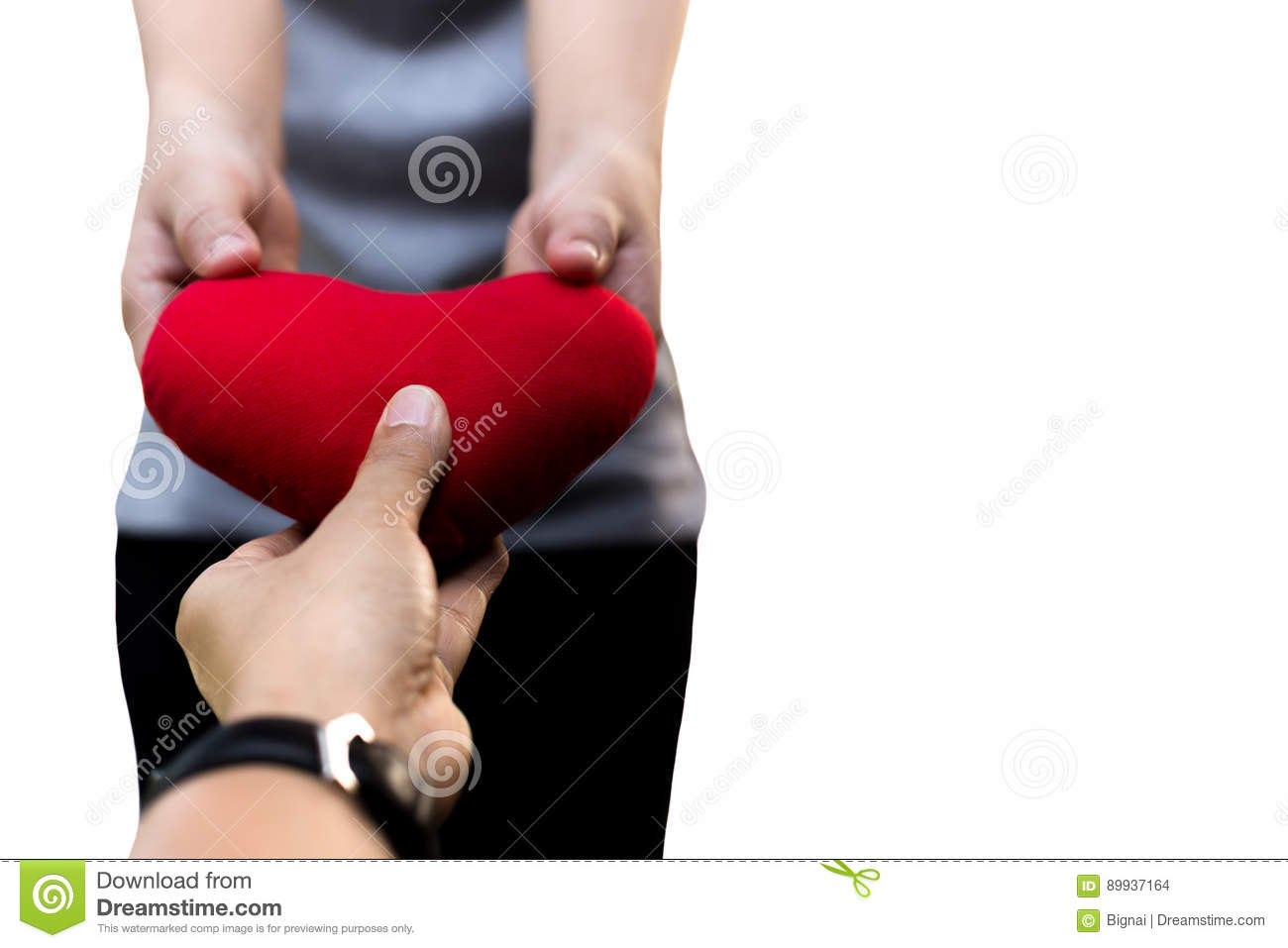 Valentine is day male and female hands holding heart isolated
