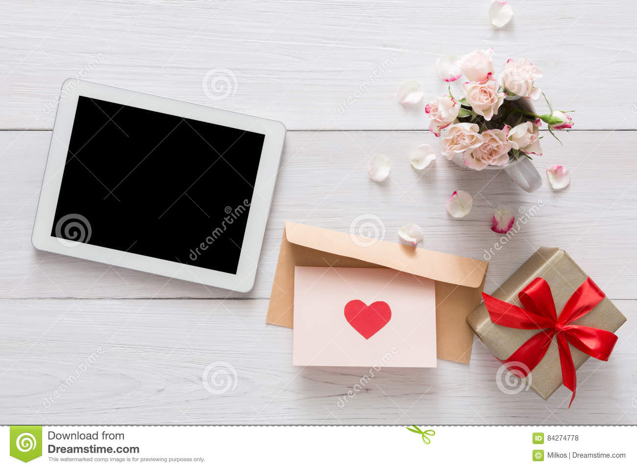 Valentine Day Online, Emailing Background Stock Photo - Image ...