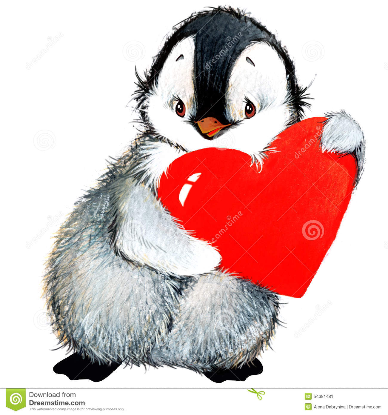valentine day penguin red heart stock illustration