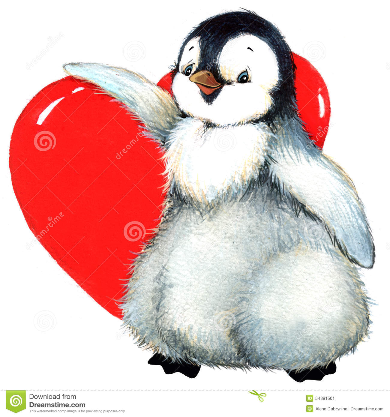 Valentine Day Penguin, Red Heart