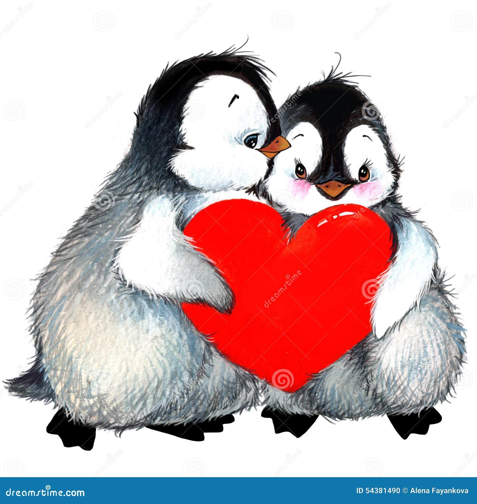 Außergewöhnlich Valentine Day Penguin, Red Heart. Watercolor Illustration
