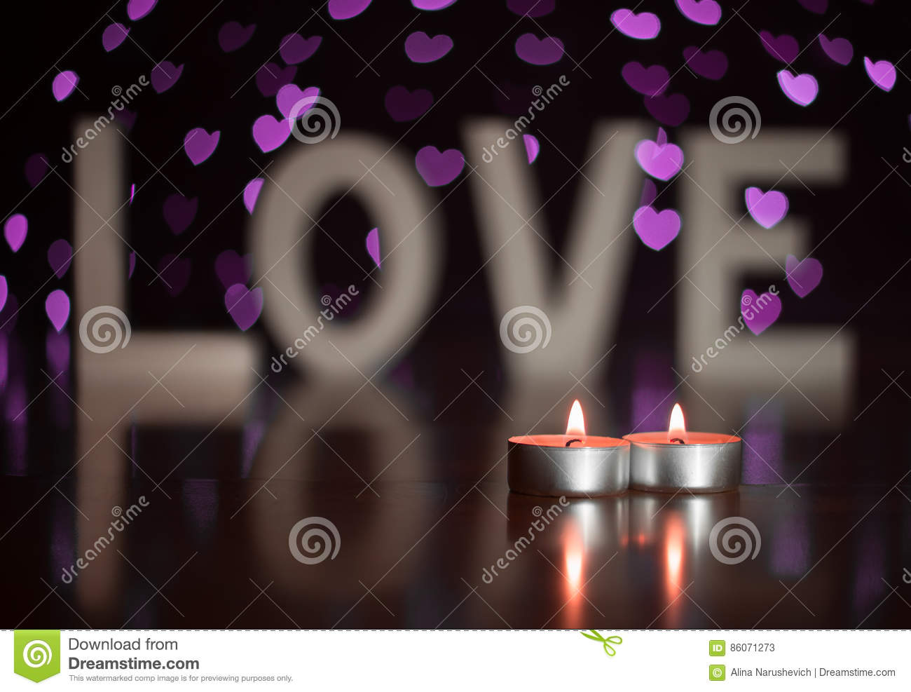 Valentine day present love letters with candles and heart