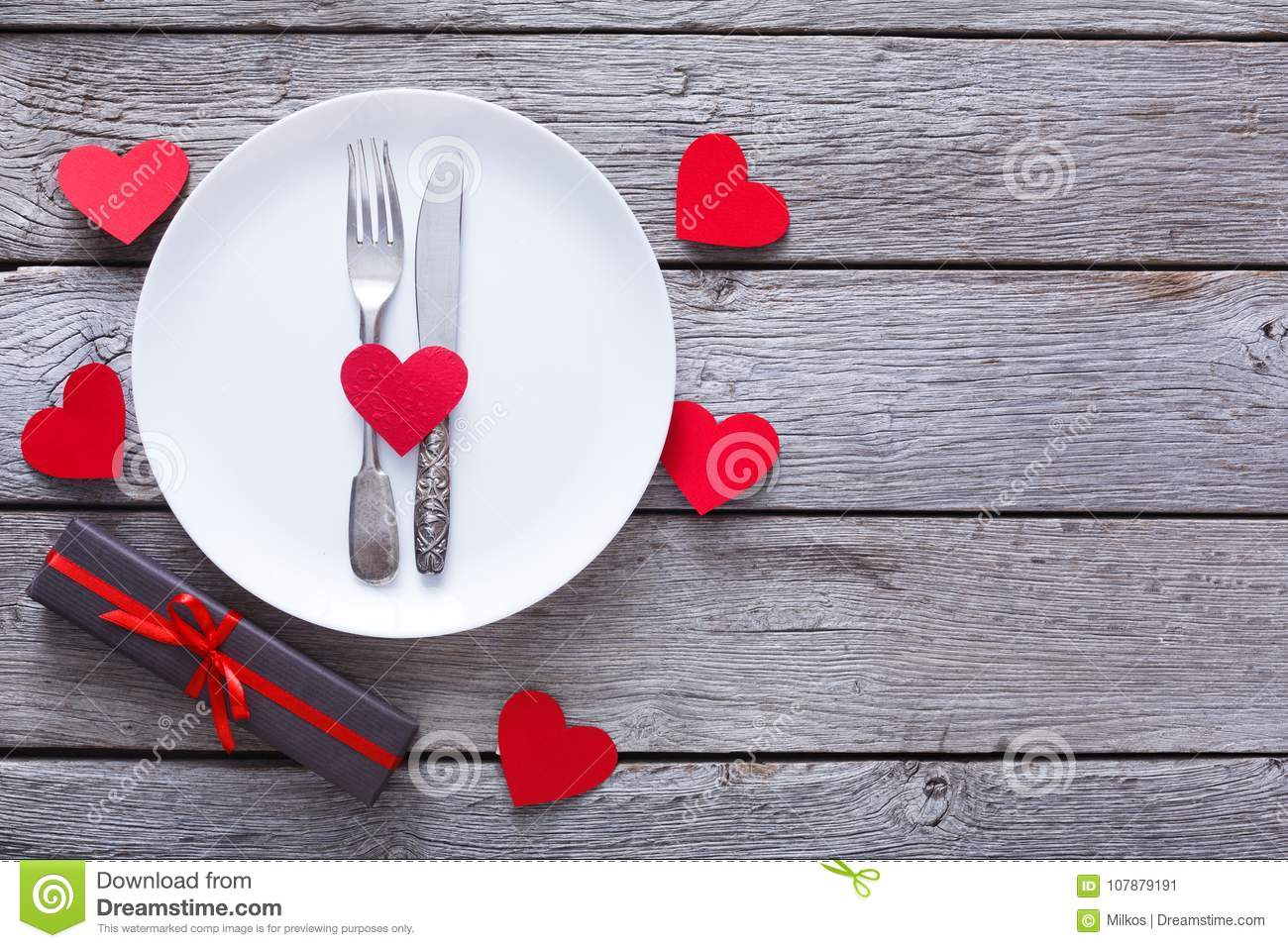 Valentine Day Or Proposal Background Cutlery On Plate On Wood Stock