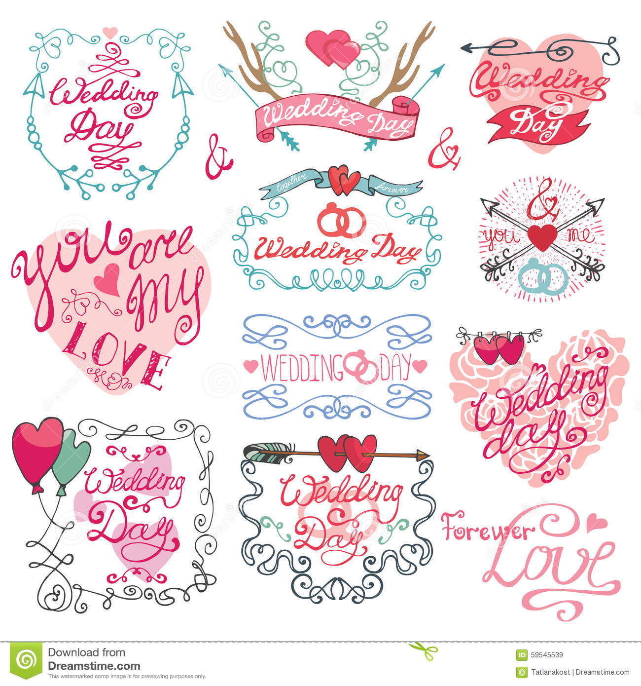 Valentine Day Set Frames Swirls Arrows A Nd Heart Stock Vector