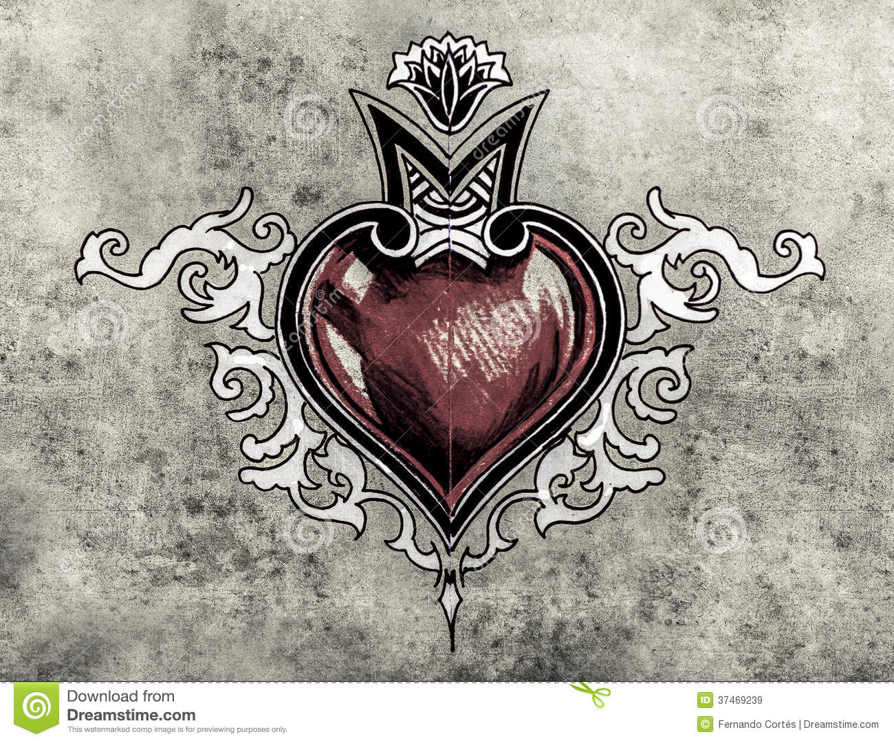 Valentine Day Sketch Of Tattoo Art Tribal Design Heart Stock