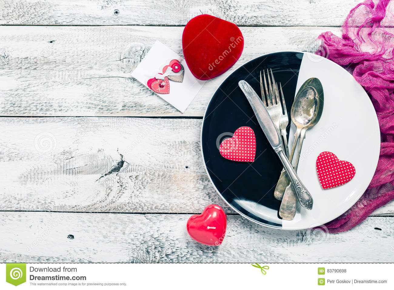 Valentine Day Table Setting Stock Photo Image Of Romance Cutlery