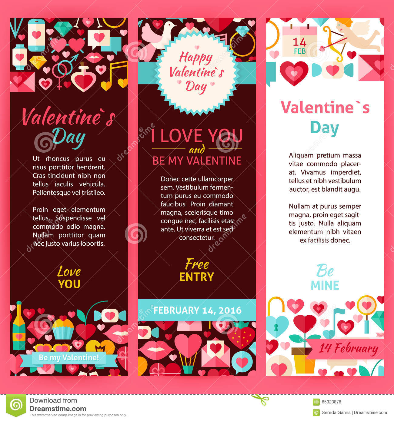 valentine day vector party invitation template flyer set stock valentine day vector party invitation template flyer set