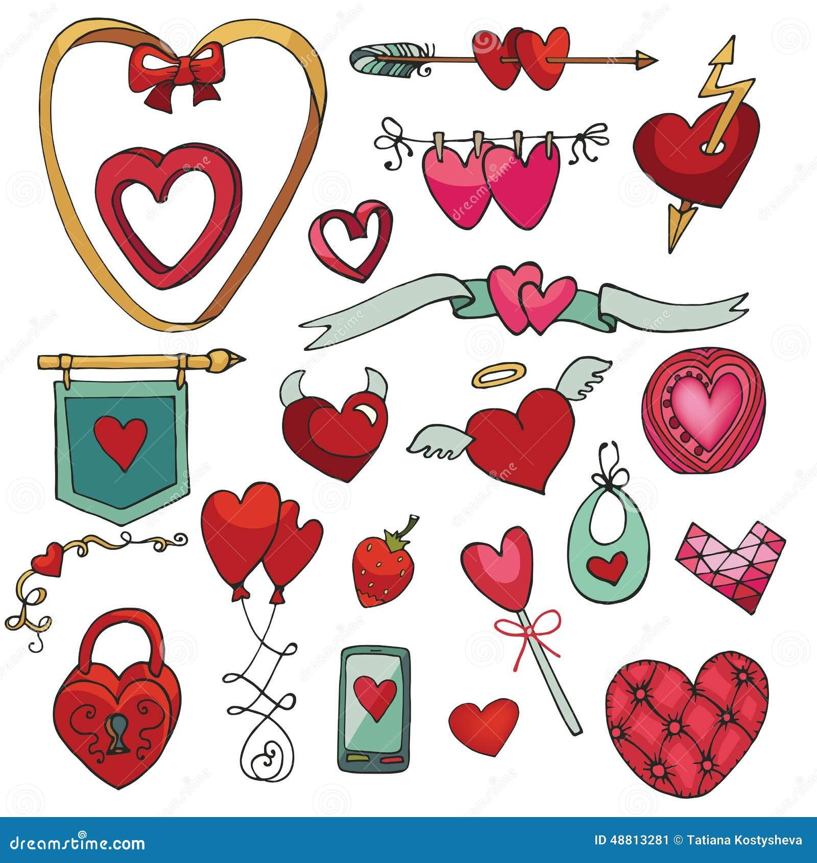 Valentine Day Wedding Love Heart Decor Element Set Stock Vector