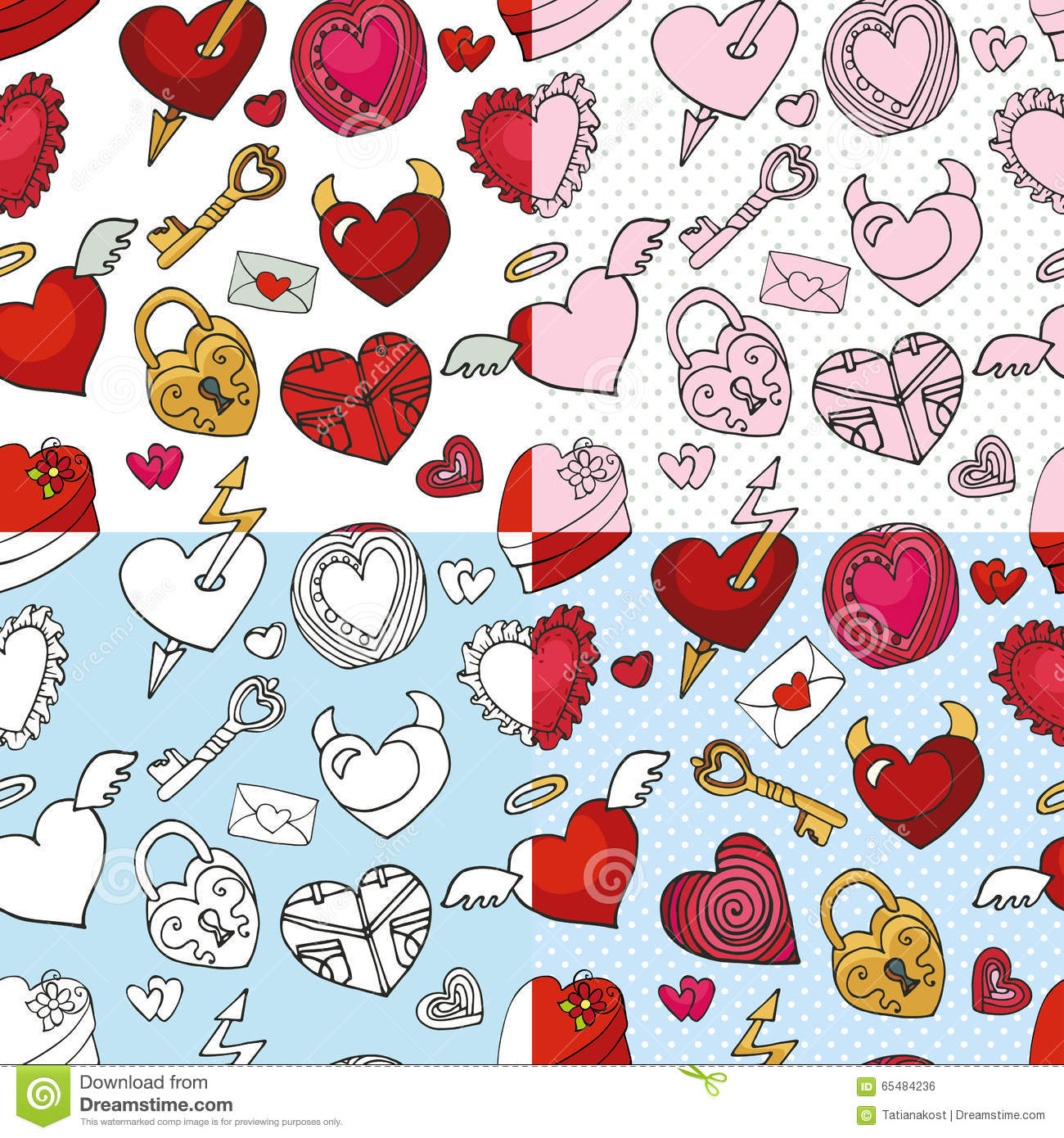 Valentine Day Wedding Love Heart Seamless Pattern Stock Vector