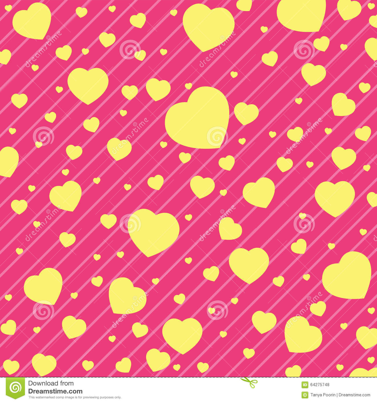 Valentine Day and yellow Heart on Pink background. Vector Valentine Day Background.