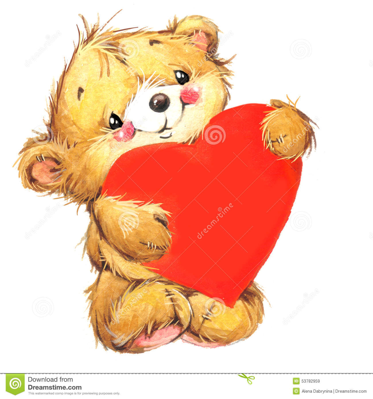 Valentine Dayand Cute Bear And Red Heart. Watercolor